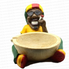 Jamaican Rasta Man Holding Big Ashtray