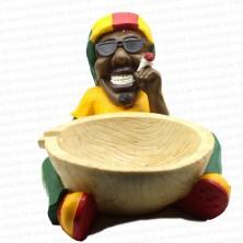 Jamaican Rasta Man Holding Big Ashtray