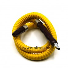 PU LEATHER SHISHA HOOKAH HOSE WITH WOOD MOUTH TIPS 1m Yellow
