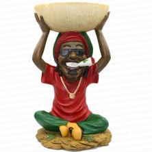 17 inch Jamaican Man Holding Ashtray