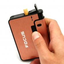 Focus Cigarette Case With Inbuilt Windproof Cigarette Lighter
