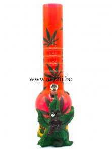 Acrylic Grip Bubble Bottom with Cannabis design and base Bong