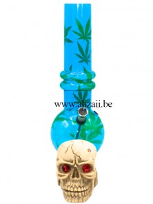 Acrylic Bubble Bottom with Cannabis design and skull base