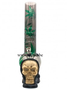 Acrylic Grip Bubble Bottom with Skull base Bong-Black