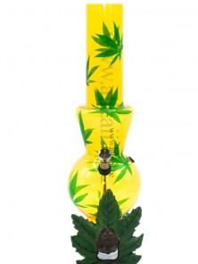 Acrylic  Bubble Bottom with Cannabis design and base Bong